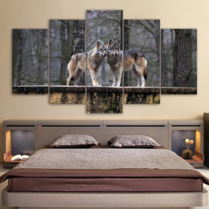 HD Printed 5 Pieces Canvas Art Painting Brown Wolf Couple Poster Wall Pictures for Living Room Home Decor Free Shipping CU-2559C