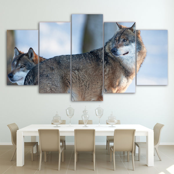 HD Printed 5 Pieces Canvas Art Painting Brown Wolf Couple Poster Wall Pictures for Living Room Home Decor Free Shipping CU-2560C