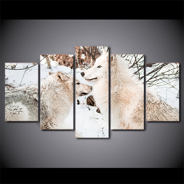 HD Printed 5 Pieces Canvas Art Painting White Snow Wolf Couples Poster Wall Pictures for Living Room Free Shipping CU-2561B
