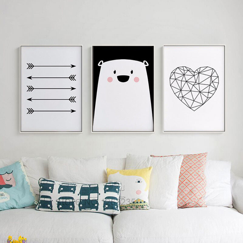 Posters And Prints Nordic Style Poster Bear Heart Wall Art Canvas Painting Kids Room