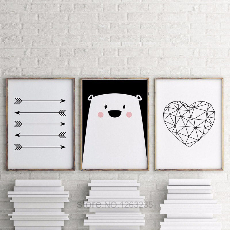 Posters And Prints Nordic Style Poster Bear Heart Wall Art Canvas Painting  Kids' Room Canvas Art Print Cartoon Canvas Unframed