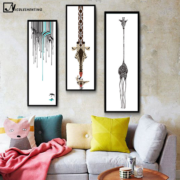 Creative Watercolor Animal Zebra Giraffe Minimalist Art Canvas Poster Painting Wall Picture Print Modern Children Room Decor