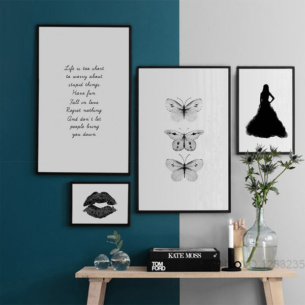 Posters And Prints Nordic Poster Wall Pictures For Living Room Canvas Art Butterfly Girl Wall Art Canvas Painting Unframed