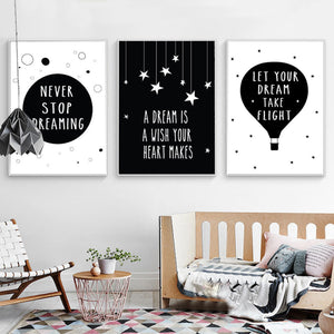 Minimalist Dream Canvas Painting Geometric Black White Nordic Posters Wall Art Picture for Kids Rooms Unframed Drop Shipping