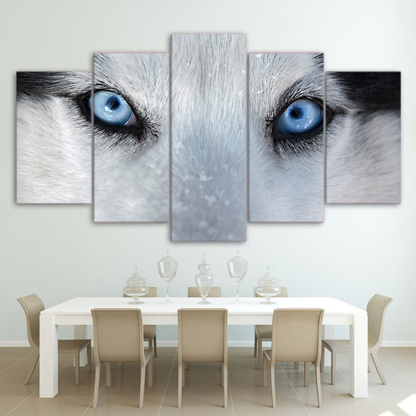 wall art canvas painting 5 piece HD print Wolf Blue Eyes posters and prints framed modular canvas art home decor CU-2211C