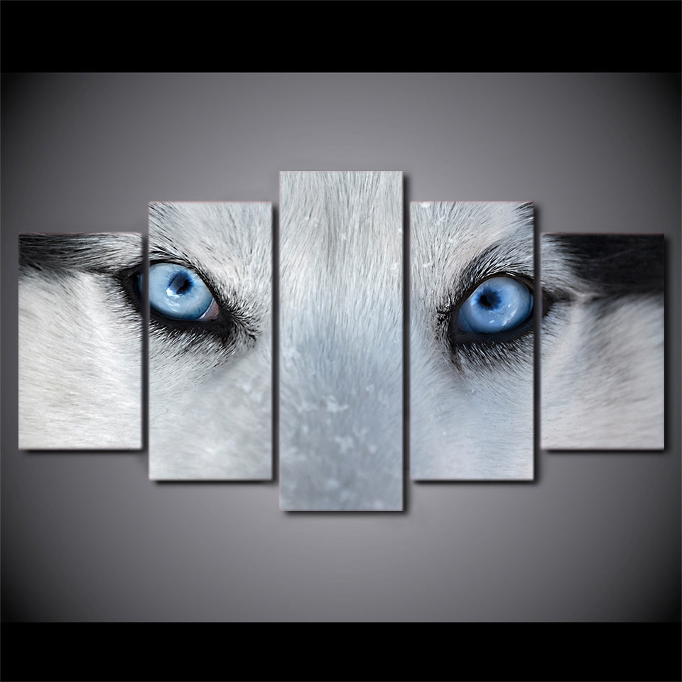 Wall Art Canvas Painting 5 Piece Hd Print Wolf Blue Eyes Posters And Prints Framed Modular Canvas Art Home Decor Cu 2211c