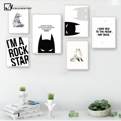 Cartoon Superheroes Batman Motivational Poster Quote Print Wall Art Canvas Painting Nursery Picture Baby Living Room Home Decor
