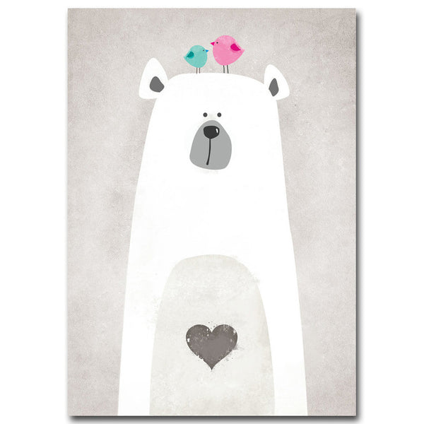Nordic Art Polar Bear Hippo Canvas Poster Minimalist Painting Cartoon Modern Nursery Picture Home Children Room Decoration