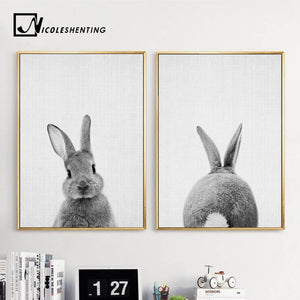 Black White Rabbit Wall Art Canvas Posters and Prints Minimalist Animal Paintings Wall Picture for Living Room Modern Home Decor