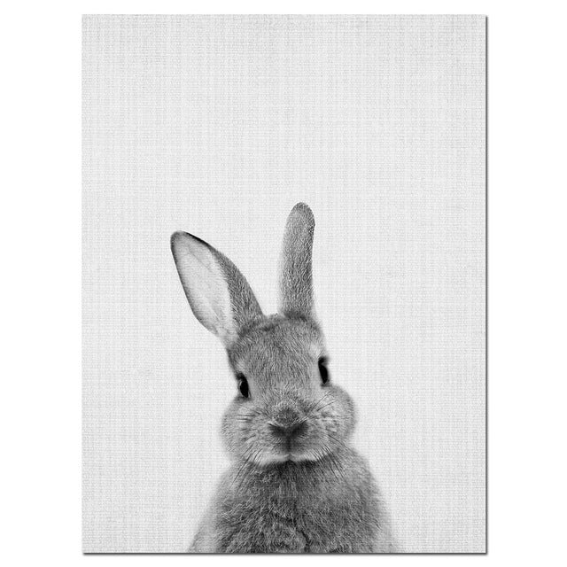 Black white rabbit wall art canvas posters and prints minimalist animal paintings wall picture for living