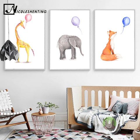 Watercolor Deer Elephant Balloon Posters Animal Canvas Prints Wall Art Painting Decorative Picture Children Room Decoration