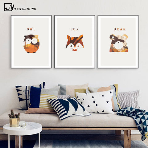 Nordic Art Animal Fox Bear Owl Canvas Poster Minimalist Painting Nursery Wall Picture Print Modern Children Room Decoration 311