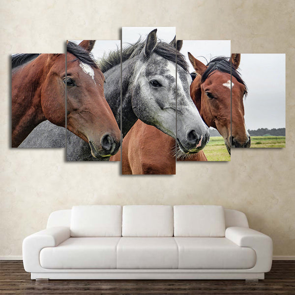 HD Printed 5 Piece Canvas Art Brown and Grey Horses Painting Framed Modular Wall Pictures for Living Room Free Shipping CU-2255B