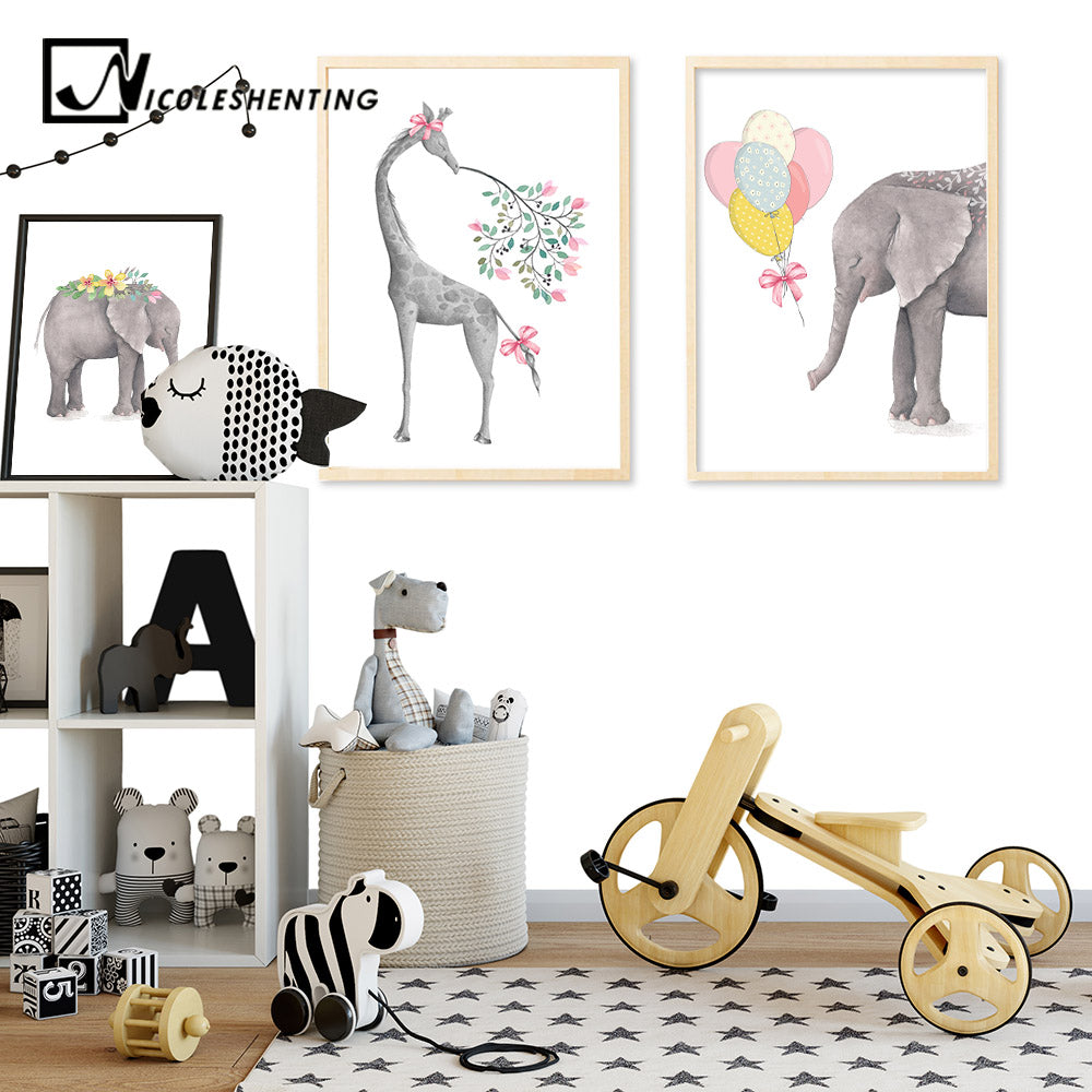 Deer Elephant Nordic Posters Animal Canvas Prints Wall Art Painting  Decorative Picture Kids Children Room Decoration