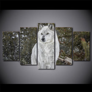 HD printed 5 Piece Canvas Art Snow Wolf Painting Animal Wall Pictures for living room Modern Modular Free Shipping CU-2104C