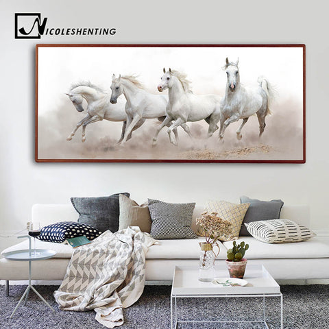 Animals White Horse Wall Art Canvas Posters and Prints Landscape Canvas Painting Long Wall Picture for Living Room Home Decor