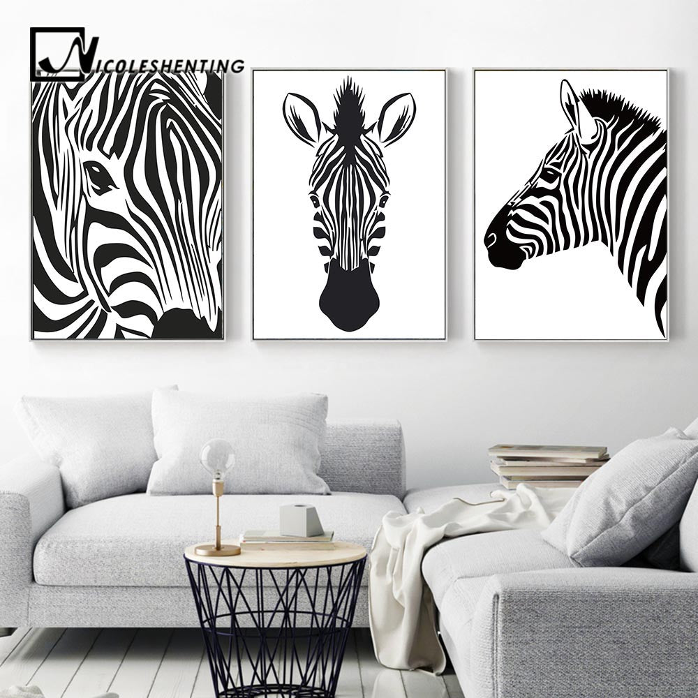 Black White Animal Zebra Wall Art Canvas Posters And Prints Canvas