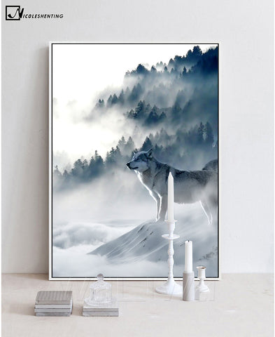 NICOLESHENTING Nordic Art Wolf Snow Mountains Art Canvas Poster Minimalist Print Nature Picture Modern Home Room Decoration
