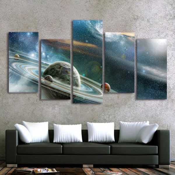 HD Printed 5 Piece Canvas Art Abstract Galaxy Painting Framed Universe Wall Pictures for Living Room Free Shipping CU-1615C