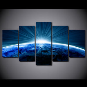 HD Printed 5 Piece Canvas Art Universe Blue Planet White Aperture Painting Wall Pictures for Living Room Free Shipping NY-6925A