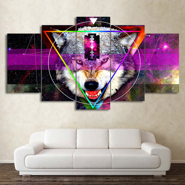 HD Printed 5 Piece Canvas Art Abstract Stars Wolf Painting Framed Modular Wall Pictures for Living Room Free Shipping CU-2253B