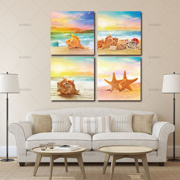 Canvas Paintings Wall Art for Home Decorations 4 Piece Modern Seascape shells Canvas Print Artwork Landscape Sea Beach Pictures