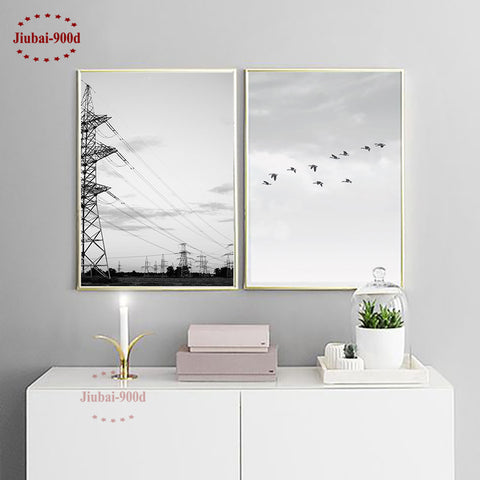 900D Nordic Style Power wire tower Canvas Art Print Painting Poster, Birds Wall Pictures for Home Decoration, Wall Decor NOR034