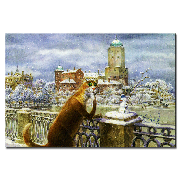 Vladimir Rumyantsev thinking the cat world oil painting wall Art Picture Paint on Canvas Prints wall painting no framed