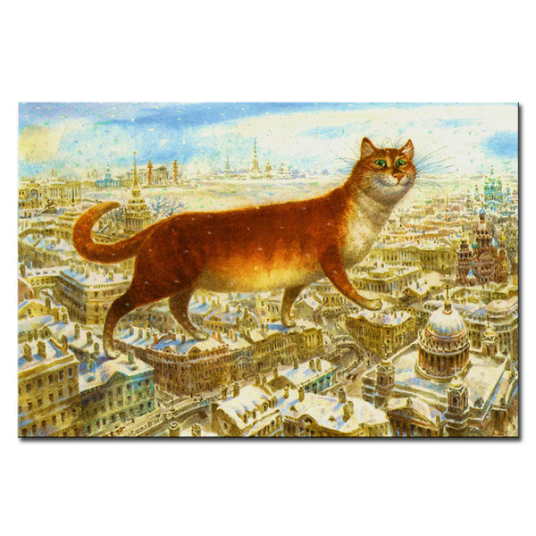 Vladimir Rumyantsev walk on the building cat world oil painting wall Art Picture Paint on Canvas Prints wall painting no framed