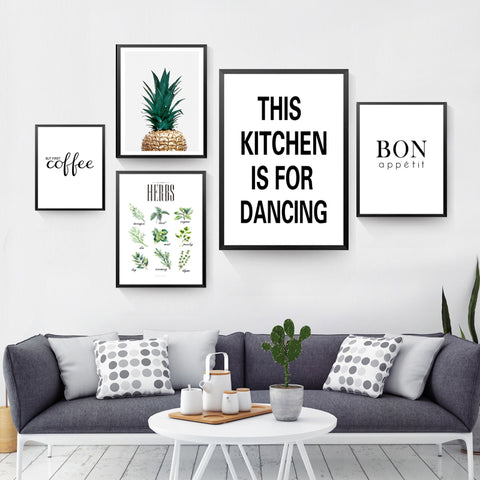 This Kitchen Is For Dancing Wall Canvas Prints Painting But First Coffee Wall Art Pictures Posters Prints No Frame FG0096