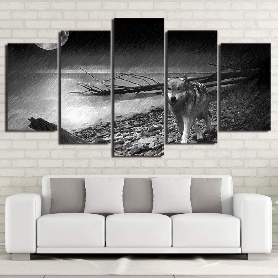 5 piece HD print wolf painting Back and white river posters and prints wall pictures for living room free shipping CU-2497C