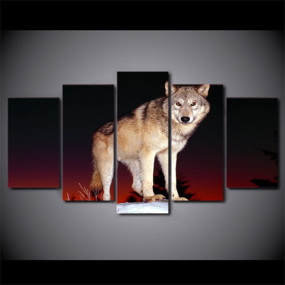 HD Printed 5 Piece Canvas Art Wolf Painting Black and Red Framed Wall Pictures for Living Room Home Decor Free Shipping NY-7104A