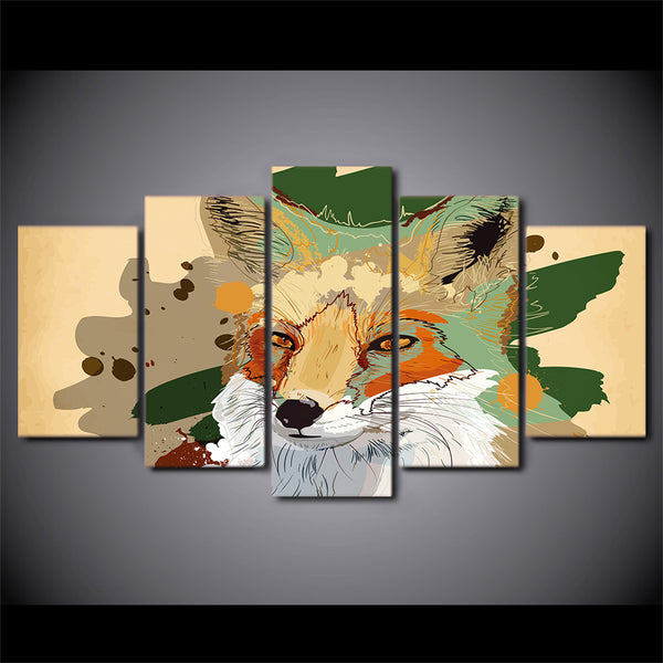 HD Printed 5 Piece Canvas Art Abstract Wolf Painting Wall Pictures Decor Framed Modular Painting Free Shipping NY-7093B