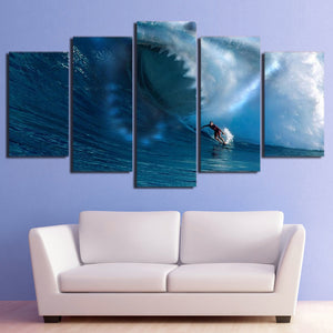 HD printed 5 piece canvas art Sharks surf the waves painting wall pictures for living room modern free shipping/ NY-7107A