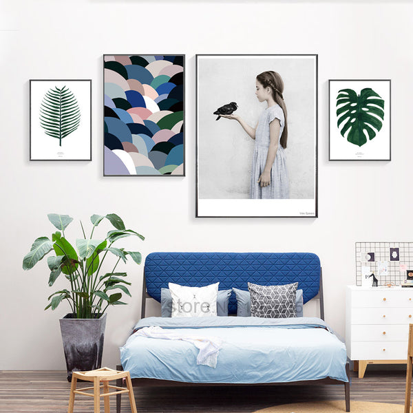Natural Life Turtle Leaf Girl Bird Posters And Prints Wall Art Canvas Painting Art Print Nordic Poster Cuadros Posters Unframed