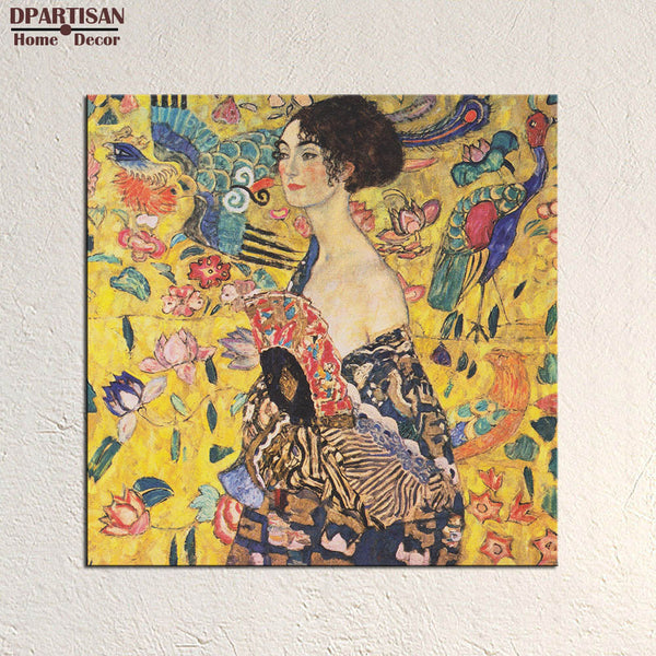 DPARTISAN Lady with Fan Gustav Klimt 1917-1918  Wall Painting picture leaf Home Decorative Art Picture Paint on Canvas Prints