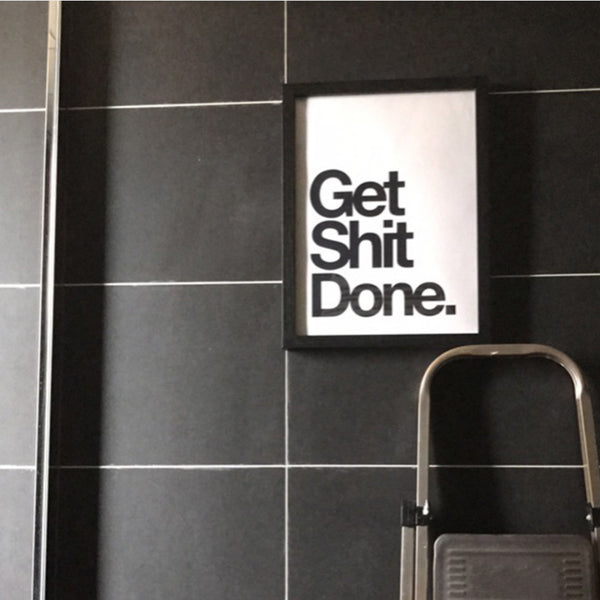 Get Shit Done Quotes Canvas Painting Black and White Nordic Posters Prints Wall Art Pictures for Bathroom Home Decor Unframed