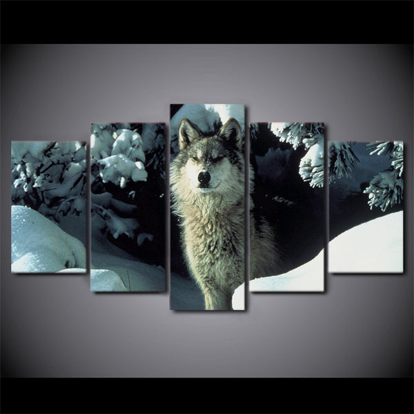 HD Printed 5 Piece Canvas Art Brown Snow Wolf Painting Animal Poster Wall Pictures For Home Decor Free Shipping NY-7191B