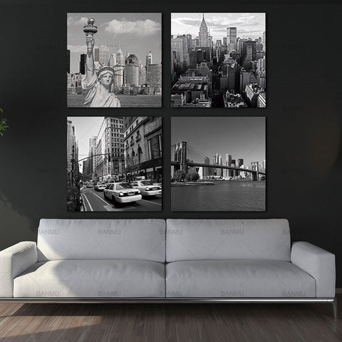 canvas painting wall art 4 Panel New York City Landmark Painting Wall Art Picture Print on Canvas Modern Giclee Artwork Painting