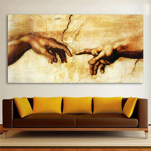 HDARTISAN Classic Painting Decorative Canvas Art Michelangelo Creation Of Adam Home Decor Wall Pictures For Living Room No Frame