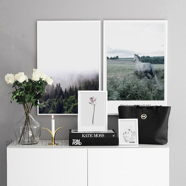 Nordic Poster Horse Posters And Prints Lotus Wall Pictures For Living Room Landscape Girl Wall Art Canvas Painting Unframed