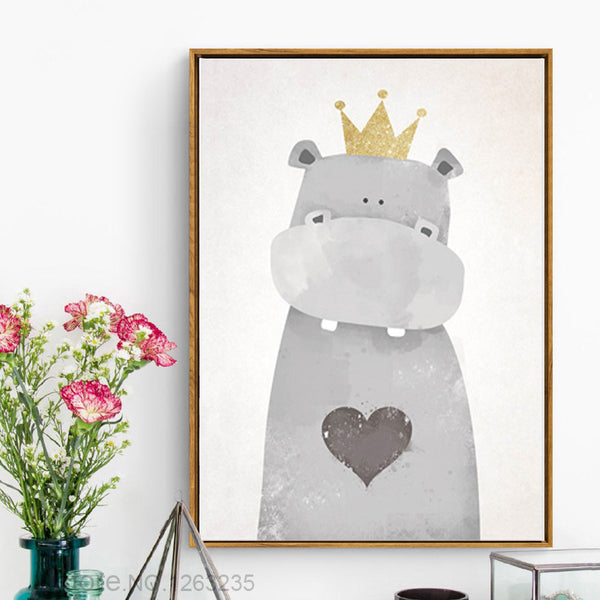 Kids Cartoon Nursery Nordic Poster Bear Love Posters And Prints Wall Art Canvas Painting Wall Pictures For Living Room Unframed