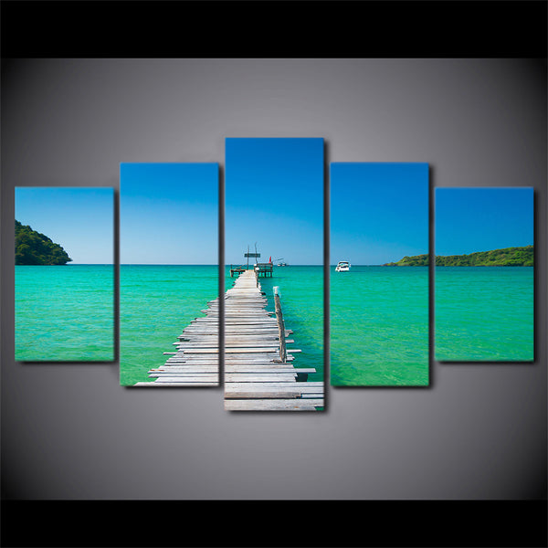 HD Printed 5 piece canvas art seascape bridge painting framed modular canvas painting wall pictures Free shipping CU-2184C