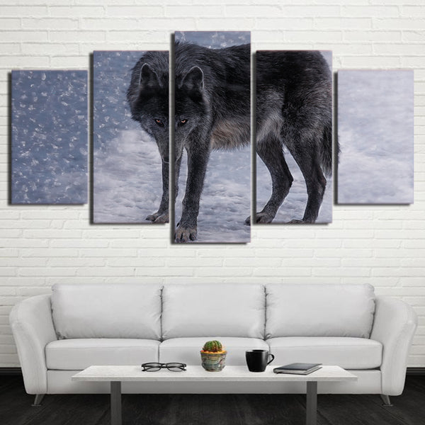 HD Printed 5 Piece Canvas Art Red Eyes Snow Wolf Painting Modular Wall Pictures for Living Room Modern Free Shipping CU-2427B