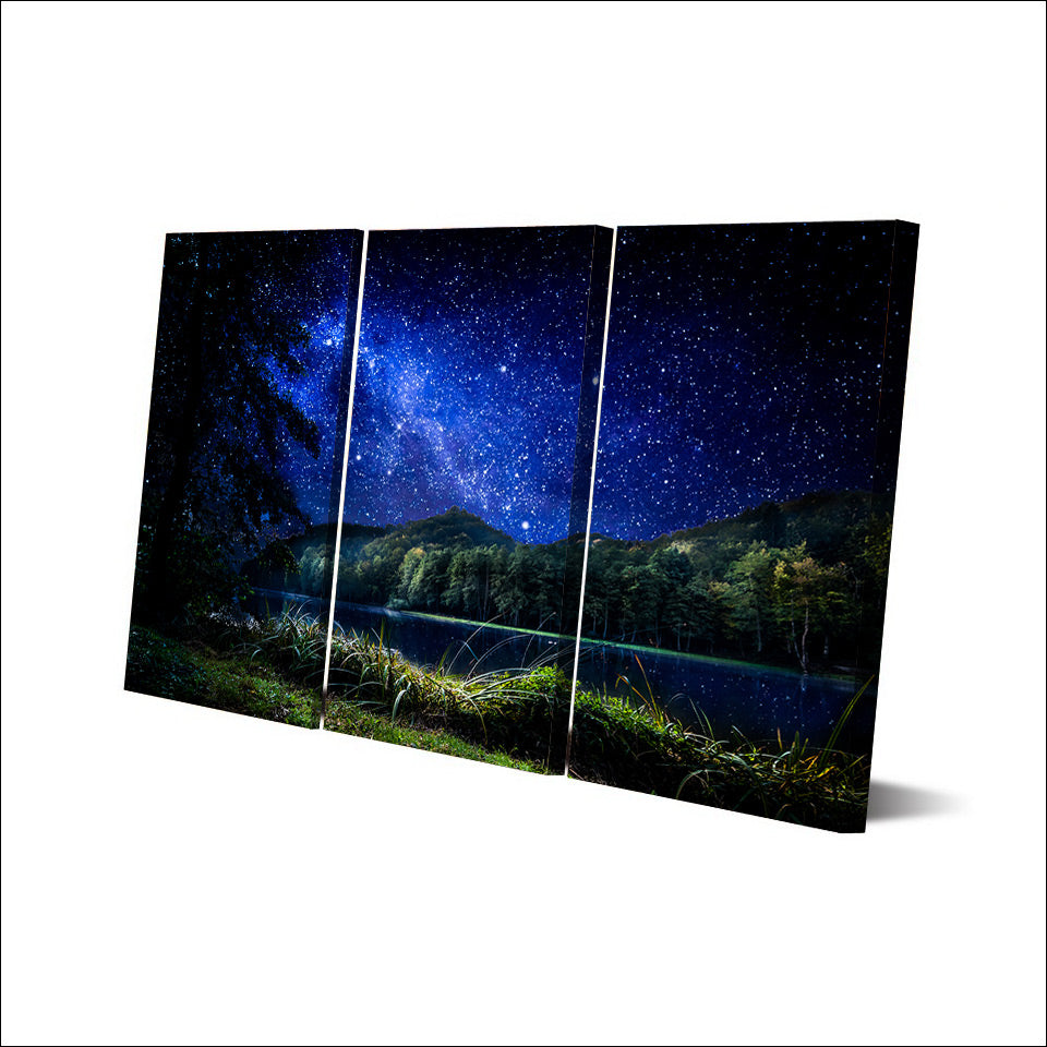 3 Pcs Canvas Art Starry Night River Poster HD Printed Wall Art Home Decor Canvas Painting Picture Prints Free Shipping NY-6594B