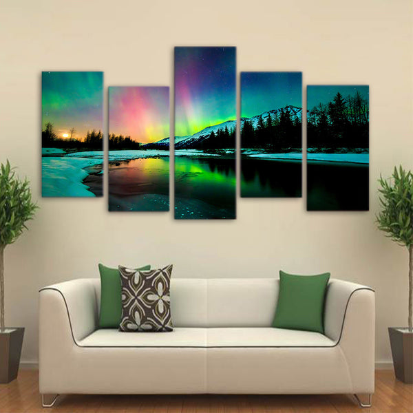 HD Printed 5 piece canvas art aurora lake mountain landscape Painting living room decoration poster  Free shipping/NY-6320