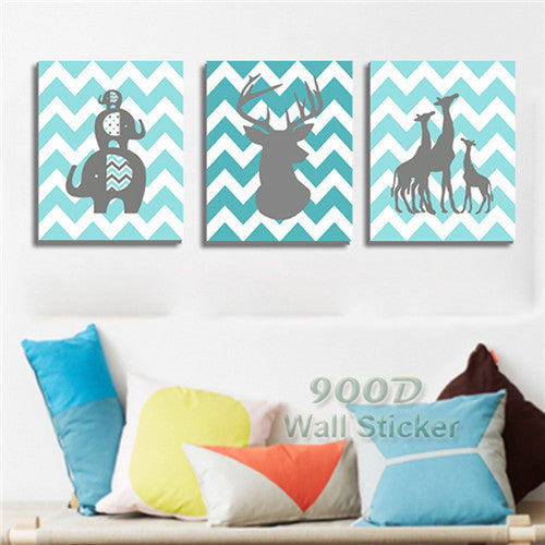 Cartoon Annimal Canvas Painting Poster, Wall Pictures For Living Room Home Decoration Print On Canvas,  set of 3