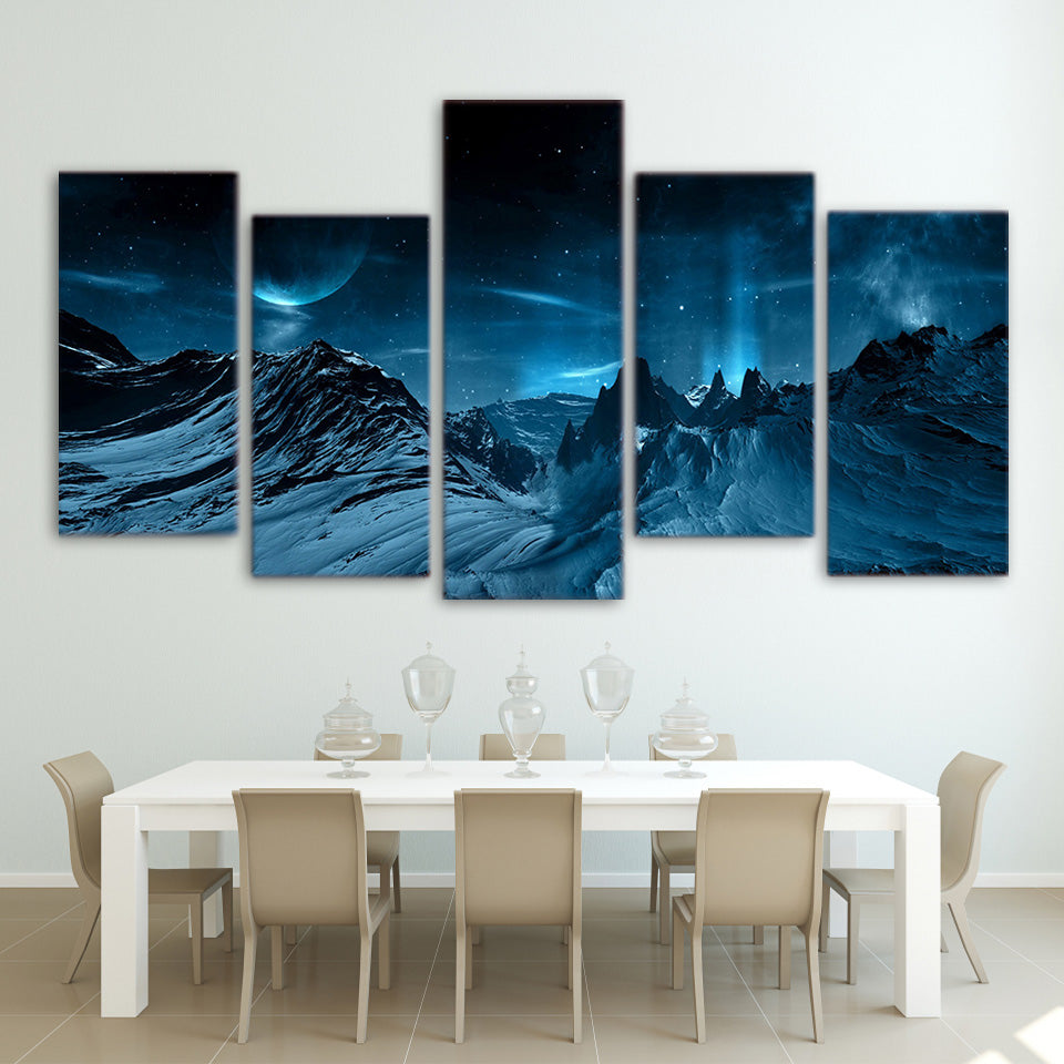 HD Printed 5 piece canvas art Blue Night And Mountain space sky Painting poster wall art for living room Free shipping/ny-2941