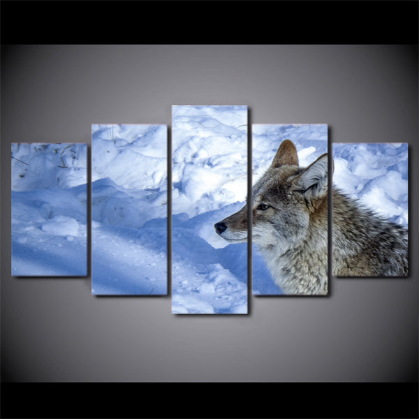 5 Pieces Canvas Art Painting Printed Wolf in the Snow Winter Wall Art Print Canvas Painting Home Decor For Living Room NY-7198B