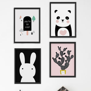 Nordic Poster Cactus Panda Wall Art Canvas Painting Wall Pictures Nordic Style Kids Decoration Posters And Prints Unframed